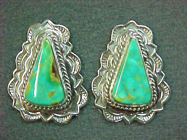 Turquoise Mountain Triangle Post Earring