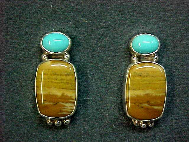 Sleeping Beauty Turquoise and Jasper Earring